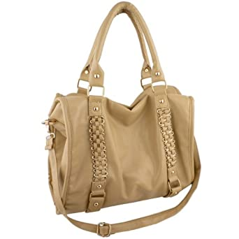 EIDER Beige Large Leatherette Gold Chain Decor Sturdy Office Tote Bag Satchel Handbag Purse by MyGift