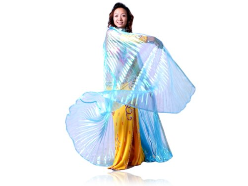 New Belly Dance Costume Isis Wings Light Blue + Free Stick