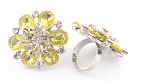 Ladies Yellow Spiral Centered Flower Metal Adjustable Finger Ring