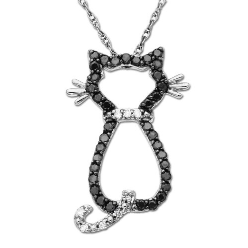 14k White Gold Black and White Diamond Cat Pendant (1/5 cttw), 18