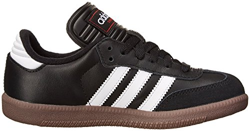 Adidas Samba Classic Leather Soccer Shoe (Toddler/Little Kid/Big Kid),Black/ White,4.5 M US Big Kid