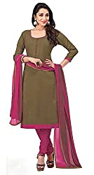 Khoobee Presents Embroidered Cotton Dress Material (Brown,Pink)