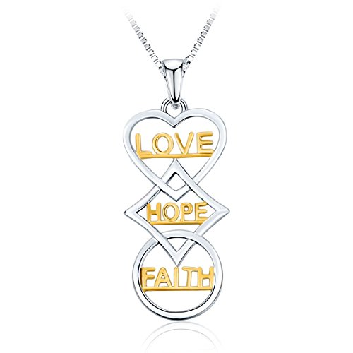 """""""Faith Hope Love"""" Pendant Necklace, Two-Tone Fashion Jewelry with Holl…"""