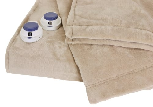 Soft Heat Luxurious Macromink Fleece Low-Voltage Electric Heated Blanket, Queen Size, Linen