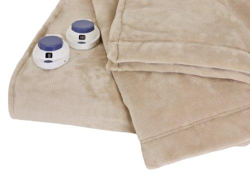 Soft Heat Luxurious Macromink Fleece Low-Voltage Electric Heated Blanket, King Size, Linen