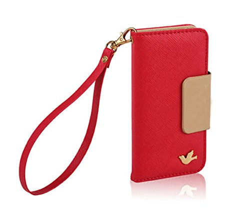Mylife (Tm) Fire Engine Red + Tan {Glamorous Design} Faux Leather (Card, Cash And Id Holder + Magnetic Closing + Hand Strap) Slim Wallet For The Iphone 5C Smartphone By Apple (External Textured Synthetic Leather With Magnetic Clip + Internal Secure Snap I