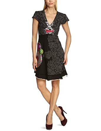 Desigual - Robe - Manches 1/2 - Femme - Noir (Negro 2000) - FR : 44 (Taille fabricant : XL)