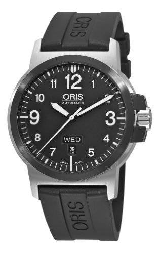 Oris Men's 73576414364RS BC3 Sportsman Day Date Black Rubber Strap Watch