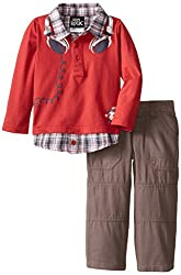 Boys' Rock Baby Boys' 2 Piece Polo Set Plaid Headphones, Red, 12 Months