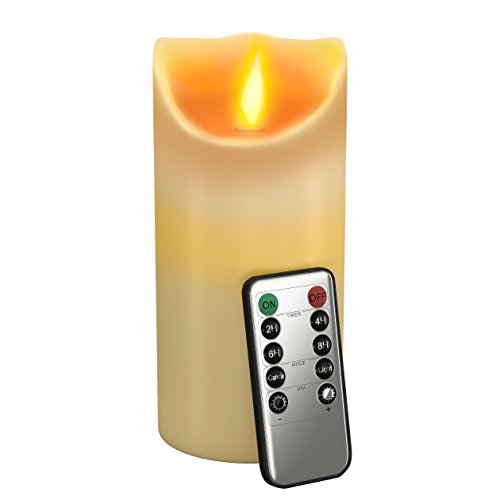 GideonTM-7-Inch-Flameless-LED-Candle-Real-Wax-Real-Flickering-Candle-Motion-with-Remote-OnOff-Vanilla-Scented-Ivory