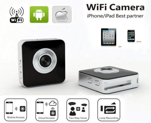 Toworld18 Mini Portable Wide Angle 720P Wifi Camera Dv Camcorder Iphone Android Live View Black