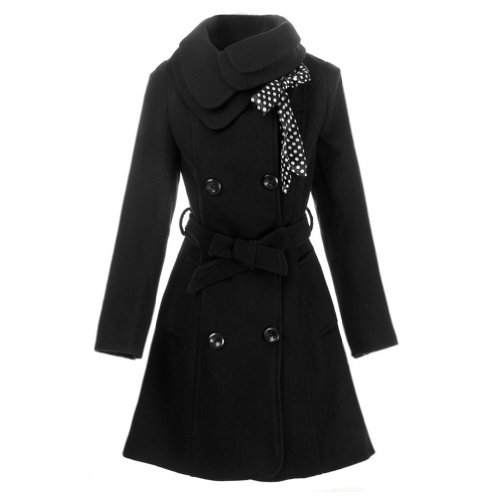 Hee Grand Women Wool Blends Coat Slim Trench Winter Coat Chinese XL Black