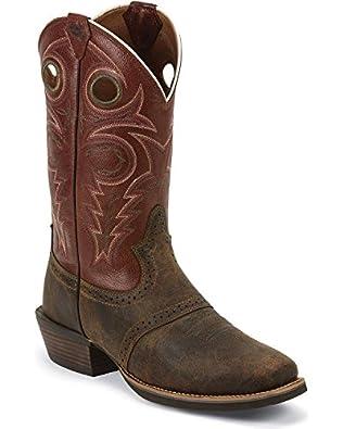 Justin Men's Silver Punchy Saddle Vamp Cowboy Boot Square Toe Whiskey US