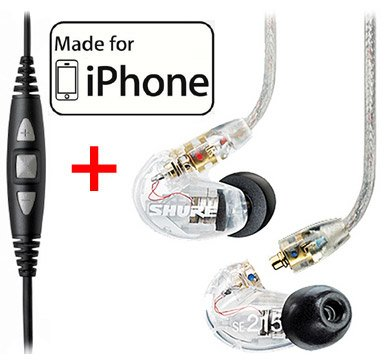 Shure SE215-CL Clear Earphones and CBL-M-+K Music
