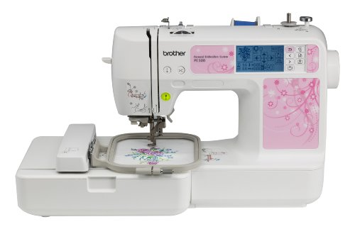Brother PE500 4x4 Embroidery Machine With 67 Built-in Stitches, 70 Built-in Designs, and 5 Fonts