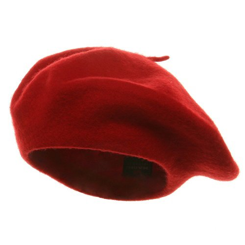 Classic French Artist 100% Wool Beret Hat Red (French Cap compare prices)
