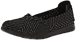 BOBS from Skechers Women\'s Pureflex-Here and Now Flat, Black/Silver, 8 M US
