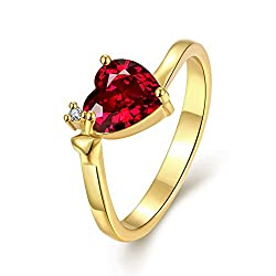 Yellow Chimes 'Queen Heart' Red Austrian Crystal Ring For Women