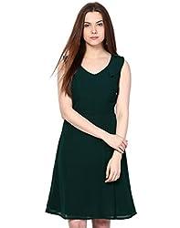 Besiva Women's Sleeveless Dark Green Dress