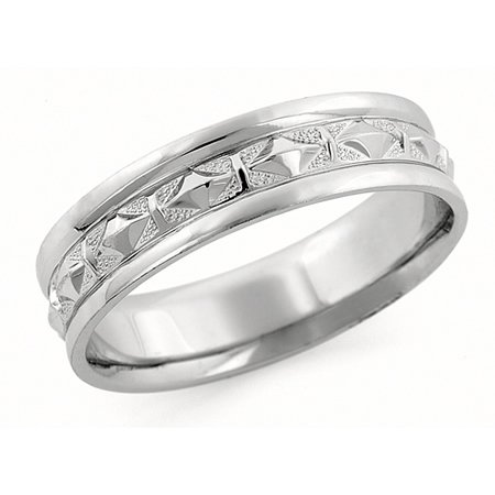 6.00 Millimeters White Gold Wedding Band in 14 Karat White Gold with Art Deco Design, Comfort Fit Style SE1956W, Finger Size 3
