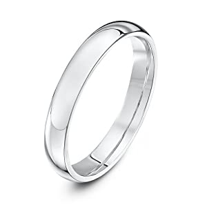 Theia 9ct White Gold - Super Heavy Court Shape - Highly Polished - 3mm Wedding Ring for Men or Women - Size N