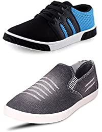 Chevit Men's COMBO Outdoor Black Sneakers Shoes (Sneakers + Jeans Loafers)