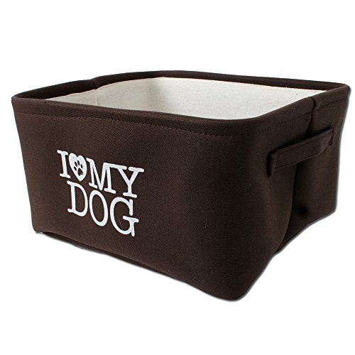 Hundebett-Hundekorb-fr-kleine-Hunde-braun-beige-I-love-my-Dog-mit-Trageschlaufen