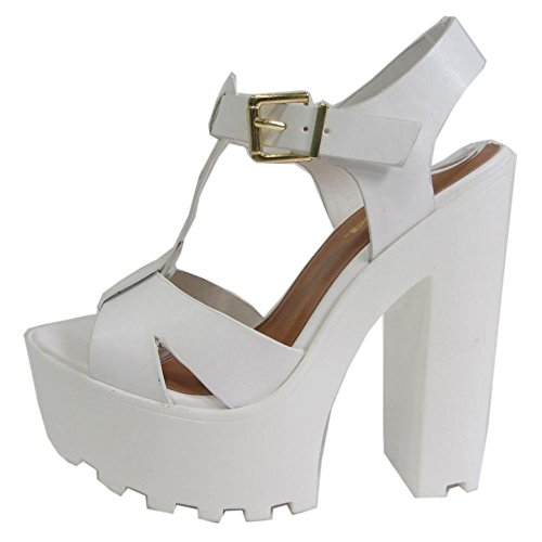 Soda Lab-S Women'S Round Toe High Heel T-Buckle Strap Platform Party Shoes, Color:Off White, Size:7