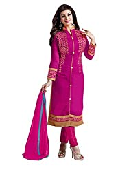 Women Icon Dark Pink Embroidried Un Stitched Straight Suit WICDMG5305