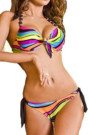 Maillot de bain femme Bikini 2 pièces push up taille (M)