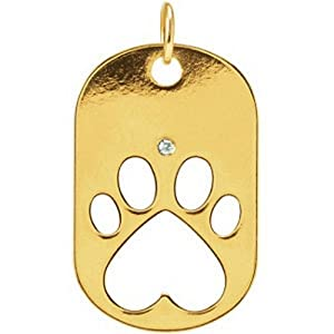 IceCarats Designer Jewelry 14K Yellow Gold Dog Tag W/Packaging 32.00X20.60 Mm