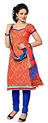 Dress Material Chanderi Orange Embroidered + Lace Unstitched