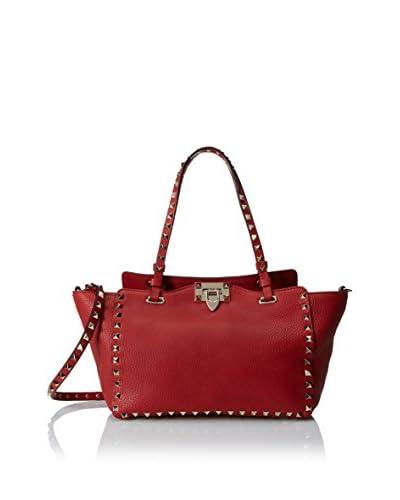 Valentino Women's Small Rockstud Shoulder Bag, Pebbled Rosso