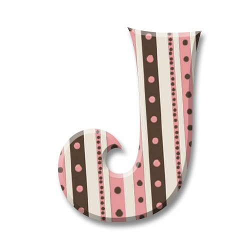 aBaby Paris Posh Letter J, Pink and Brown Decorative Stripes