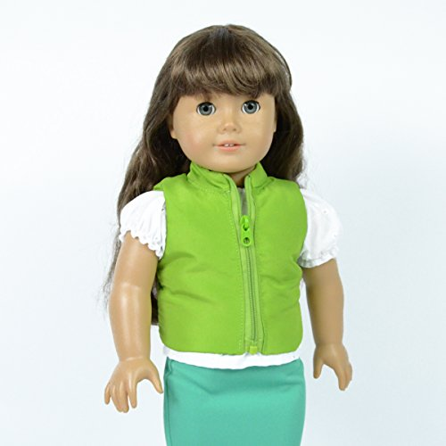 Green Puffered Vest for 18 inch dolls - doll cloth for american girl dolls - cutest doll jacket - 1