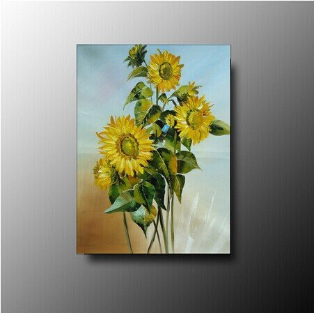 100% Hand-Painted Best-Selling Quality Goods Free Shipping Wood Framed On The Back Knife Sunflower High Q. Wall Decor Landscape Oil Painting On Canvas