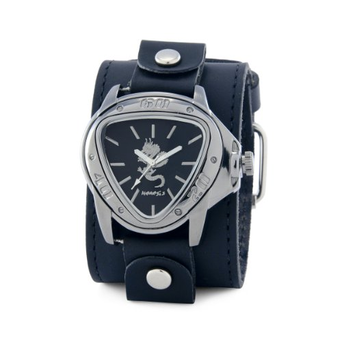 Nemesis Men's LBB928S Ion-Plating Black Case with Silver Dragon Leather Cuff Watch