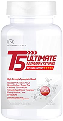 BLACK FRIDAY 75% OFF! STRONGEST Fat Burner + Pre-Workout on Amazon | T5 Ultimate® Raspberry Ketones Edition | 1750mg ACTIVE per serving | Premium Thermogenic | Appetite Suppressant | Slimming Pills Ultra Potent | GMP Manufactured | 90 Capsules