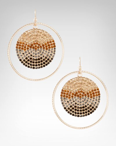 Bebe Ombre Crystal Disc Hoop Earring GOLD-TOPAZ onesize