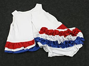 Patriotic Red White and Blue Swing Back Top Dress and Diaper Cover Set Baby Toddler 12-18 Months (Large 12-18 months)