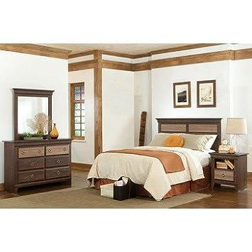 Standard Furniture Weatherly 4 Piece Headboard Bedroom Set in Cherry & Weathered Brown