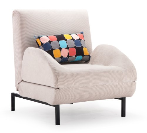 Zuo Conic Arm Sleeper Chair Cement Body And Block Back Cushion