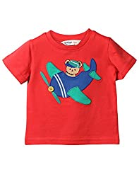 Beebay Infant-boy 100% Cotton Knitted Aeroplane Applique T-shirt (C4016131001923_Red_0-3 Months)