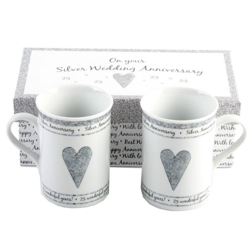 PAIR OF GIFT BOXED SILVER ANNIVERSARY MUGS - 25TH ANNIVERSARY