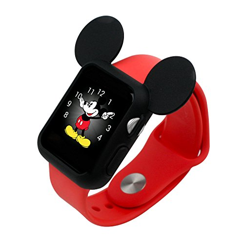 Apple Watch アップルウォッチ 38mm ケース カバー ディズニー キャラクター 耳付き / ブラック