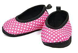 Nufoot Indoor Toddler Shoes Ballet Flat, Pink with White Polka Dots, Size 9T- 12T 2 Count