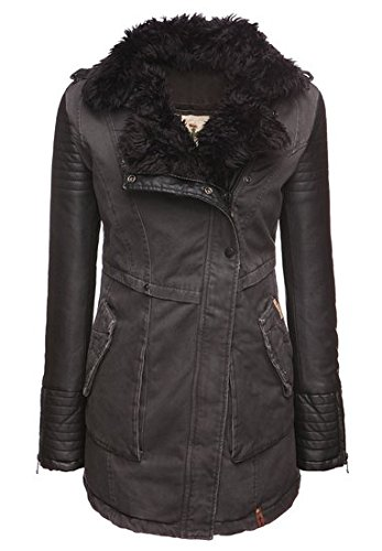 Khujo, Damen Winterjacke Robyn Fake Leather, black