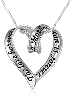 "Sterling Silver Ribbon Heart ""The Love Between A Mother and Son Is Forever"" Pendant Necklace, 18"""