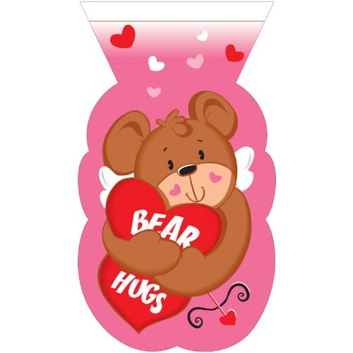 Valentines Bear Shaped Zippered Cello Bag