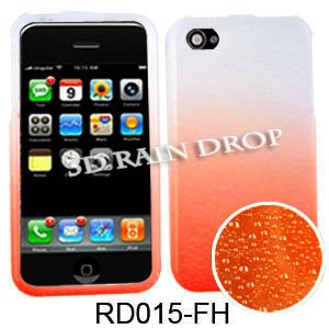 Cell Armor Snap-On Case For Iphone 4/4S - Retail Packaging - 3D Rain Drop Design, Orange/White